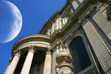 large moon on St Pauls