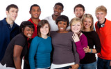 Fototapety Multi-racial college students on white