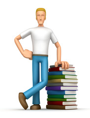 Casual man  with a stack of books