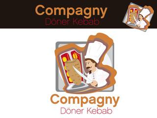 doner kebab, illustration vectorielle d'un cuisinier