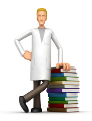 doctor with a stack of books