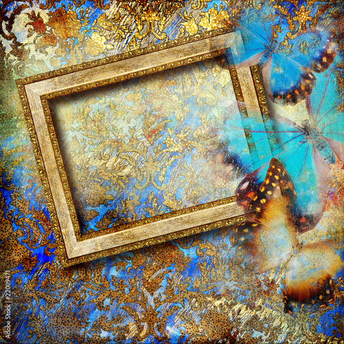 Keuken foto achterwand Vlinders in Grunge golden-blue background with blank frame and butterflies