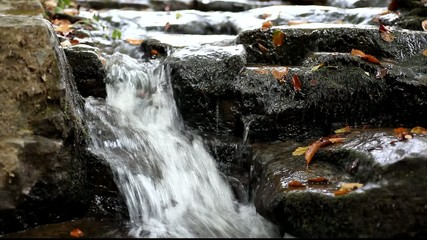 Running water among the rocks in the Carpathians Mountains