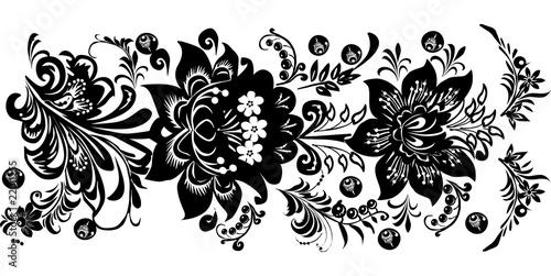 black horizontal stripe with two flowers © Alexander Potapov
