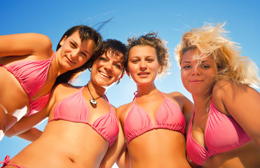 group of girls in bikinis