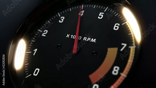 tachometer indicating the varying engine RPM