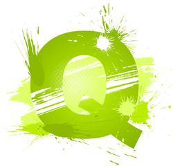 Green abstract paint splashes font. Letter Q
