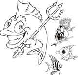 Fish with a trident, fish with a spear and striped fish. poster