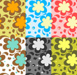 Seamless floral pattern, different color versions.