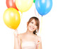 happy teenage girl with balloons