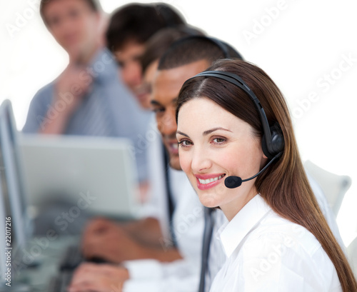 United business team working in a call center