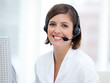 canvas print picture - Portrait of a pretty customer agent at work