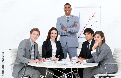 Self-assured man doing a presentation