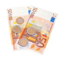 Fifty euro banknotes isolated on white background