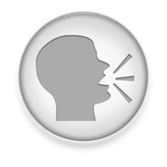 """White Button / Icon """"Talking Head"""""""