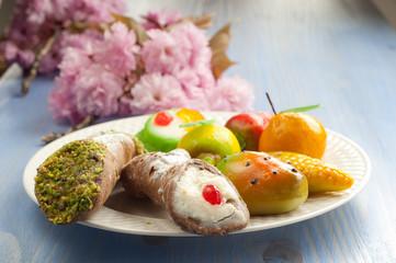mix of sicily traditional dessert on dish
