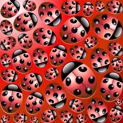 Coccinelle Porta Fortuna Sfondo-Ladybirds Background-Vector