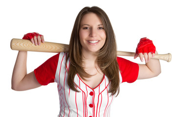 Baseball Woman With Bat