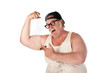 Obese man flexing muscles in tee shirt on white background