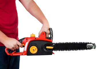 Man Holding Chainsaw Isolated