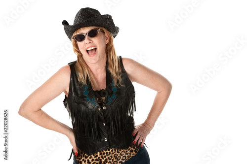 Laughing biker woman
