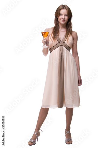 Beautiful girl with glass of alcohol