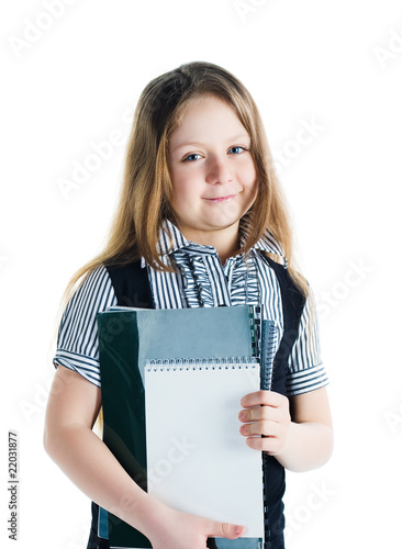 Cute schoolchild with notebooks