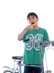 child eating popsicle