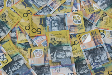Australian fifty dollar notes everywhere.