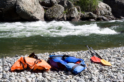 two  life-jackets and two paddles