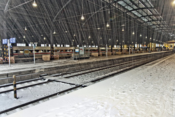 heavy snow in Train Station   in Wintertime