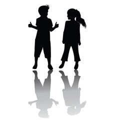 Two children silhouettes