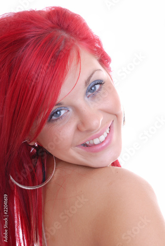 Happy red haired beauty