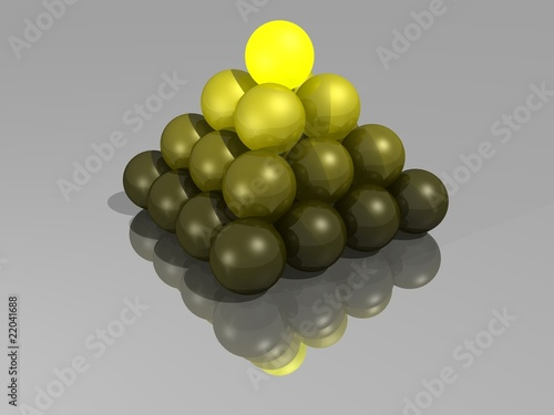 Pyramid of spheres with glowing spheres