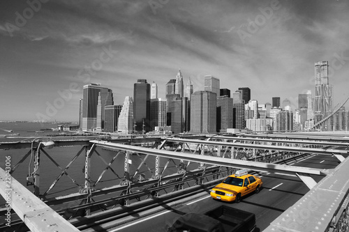 Fototapete Brooklyn Bridge Taxi, New York