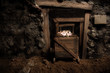 old mine and trolley full of brilliant stones - 22044461