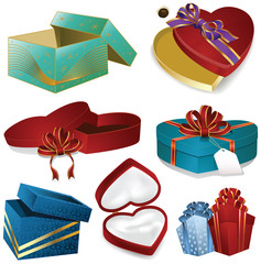 set of eight colorful vector gift boxes