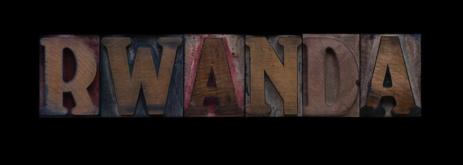 the word Rwanda in old wood type