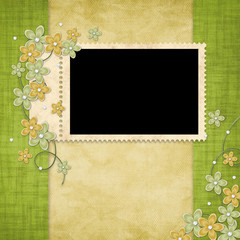 Holiday card from flowers and pearl on the abstract background