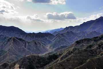 China mountain view from the great wall Badaling