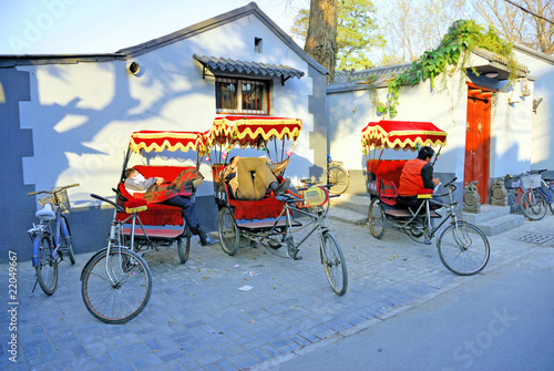Poster Chinese Muur Beijing old town atmosphere, the life in the Hutong.