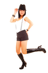 Happy Chinese girl with hat and boots.