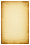 Sheet of paper with an old ragged edges, isolated on white backg poster