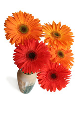 The bouquet of gerbera's flowers, view from above