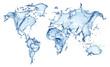 blue water splash (world map) isolated