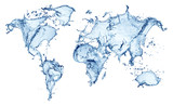 blue water splash (world map) isolated