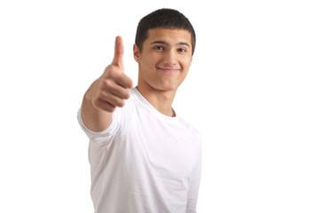 Male teenager with thumbs up