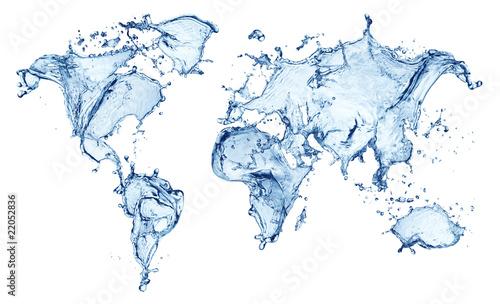 blue water splash (world map) isolated - 22052836