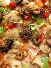 Pizza with morel mushrooms