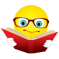 Smiley-ball in glasses read red book, vector illustration